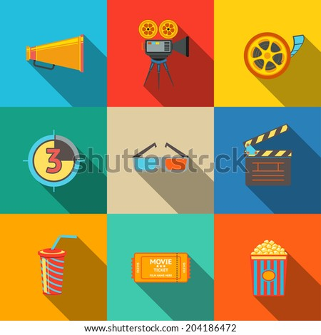 Flat modern cinema (movie) modern flat icons set on color squares with - cinema projector, film strip, 3D glasses, clapboard, popcorn in a striped tub, cinema ticket, glass of drink. - stock vector