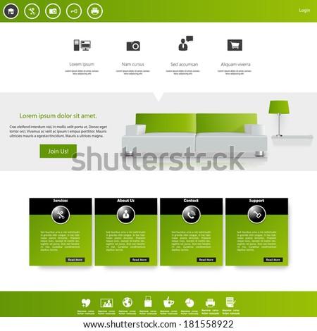 Flat Modern Clean Website Template Design Vector - stock vector