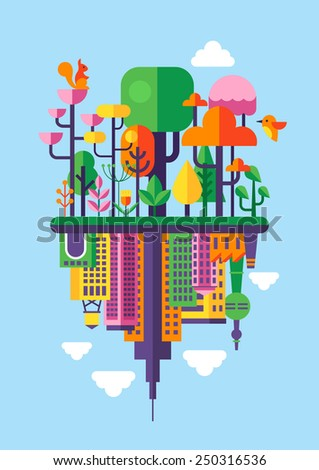 Flat modern design for environment and ecology concept. Forest icons and city building icons - stock vector