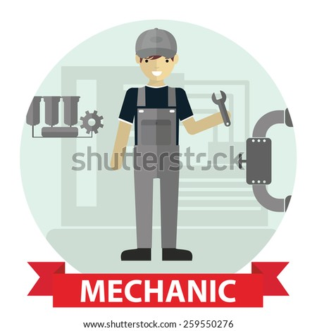 Flat modern design of Male mechanic cartoon character holding a wrench - stock vector