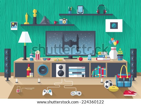 Flat modern design vector illustration concept of creative living room workspace, workplace with TV set, furniture and long shadows. Items, essentials, things, equipment, elements, objects, tools - stock vector
