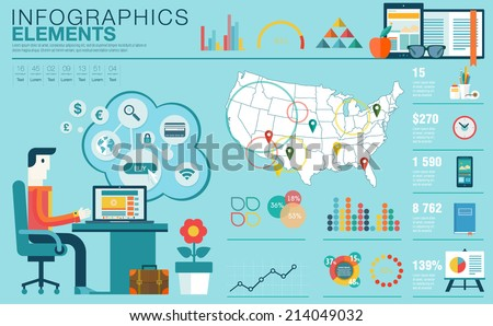Flat modern design vector illustration concept of creative office workspace, workplace. Icon collection in stylish colors of business work flow items, elements. Infographics elements with USA map - stock vector