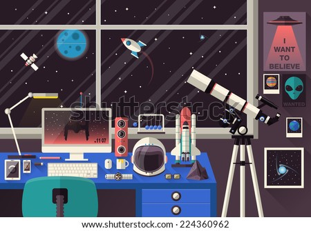 Flat modern design vector illustration concept of creative office workspace, workplace. Icons of science and business work flow items and elements, office things, equipment, objects. Space lover - stock vector