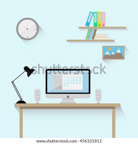 Flat modern design vector illustration concept of room interior workspace. - stock vector