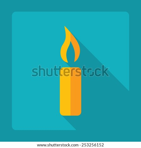 Flat modern design with shadow, candle