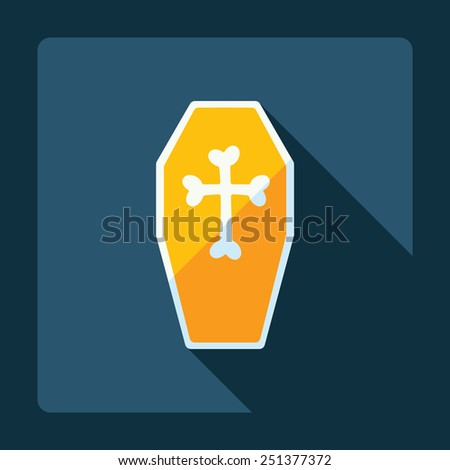 Flat modern design with shadow coffin - stock vector