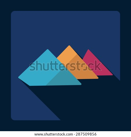 Flat modern design with shadow Egyptian pyramids
