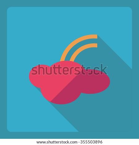 Flat modern design with shadow  Icon rainbow - stock vector