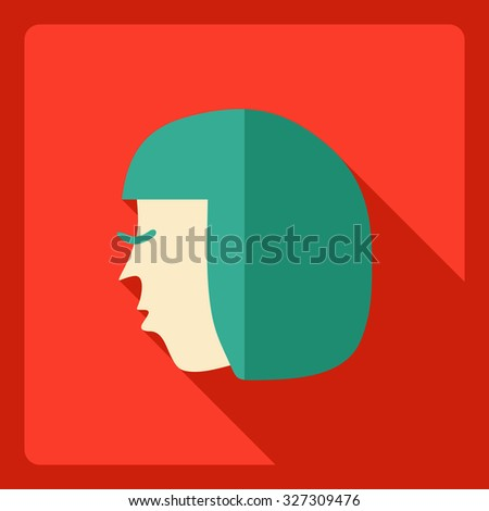 Flat modern design with shadow  Icon woman