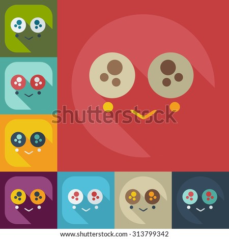 Flat modern design with shadow icons confused smiley