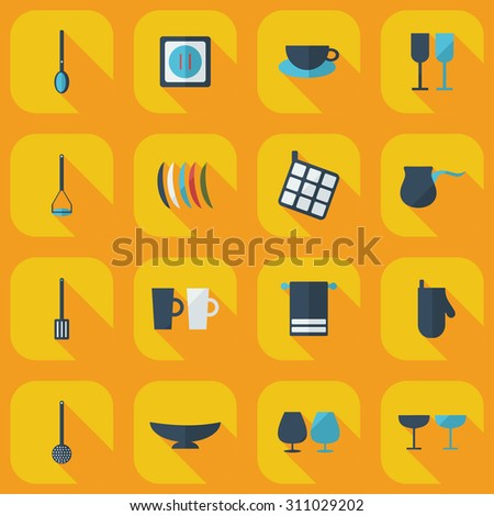 Flat Modern Design With Shadow Icons Kitchen Part 65