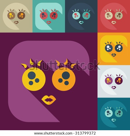Flat modern design with shadow icons smiley eyelashes