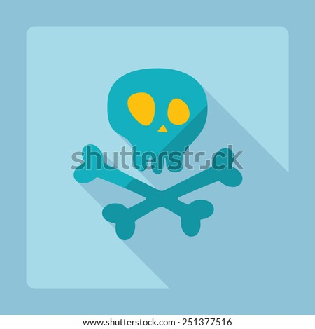 Flat modern design with shadow skull and crossbones - stock vector