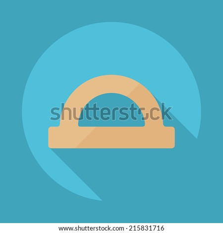 Flat modern design with shadow vector icons: protractor - stock vector