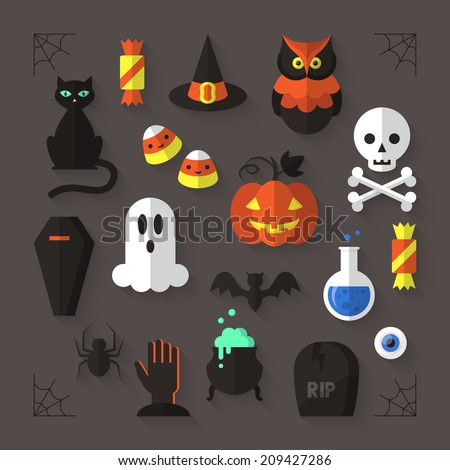 Flat modern icons for Halloween holiday. Vector illustration  - stock vector