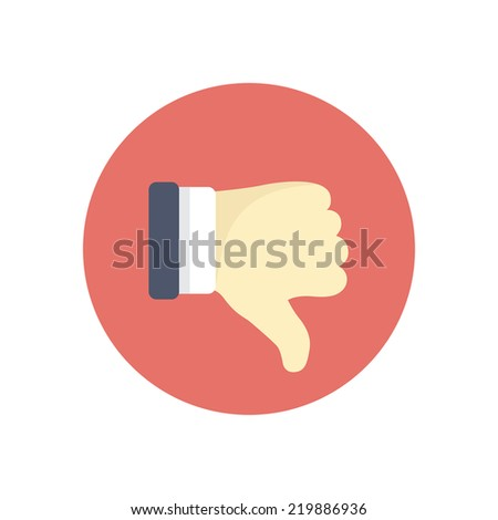 Flat modern vector icon: thumb down. - stock vector