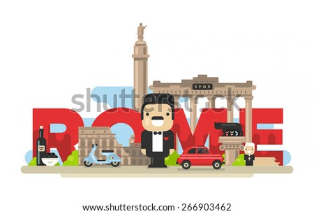 Flat modern vector Rome, the capital of Italy with Colosseum, Roman Forum and Capitoline Wolf - stock vector