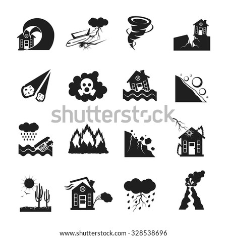 Flat monochrome icons set of various types of natural disasters isolated vector illustration - stock vector