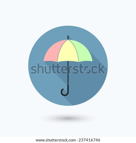 Flat multi colored umbrella icon with long shadow. Isolated on white background. Vector illustration, EPS 10. - stock vector