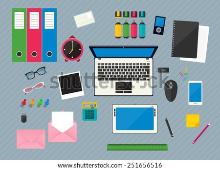 Flat multicolored design vector illustration of workplace with computer devices, office objects and business  documents - stock vector