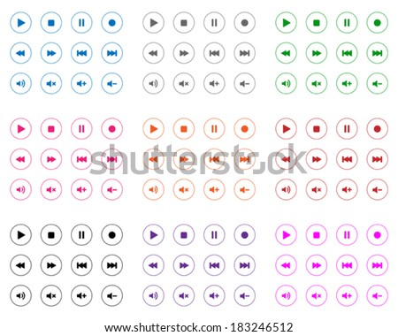 Flat multimedia icons - stock vector