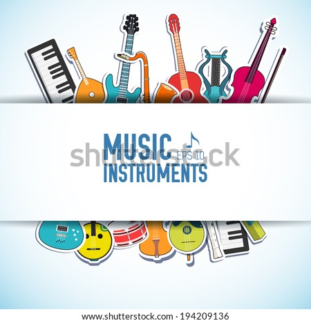 flat music instruments background concept. Vector illustrator - stock vector