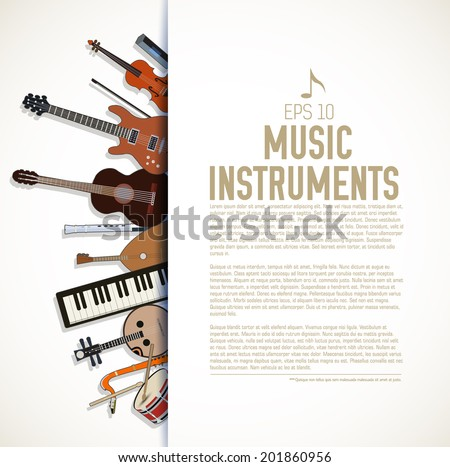 flat music instruments icons illustrations concept. Vector, eps10 - stock vector