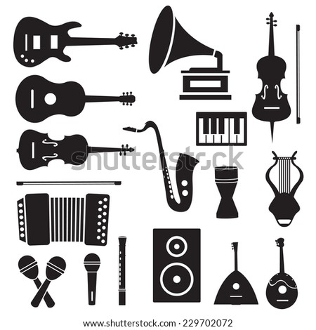 flat music instruments icons pictograms background concept. Vector illustrator for web and mobile template - stock vector