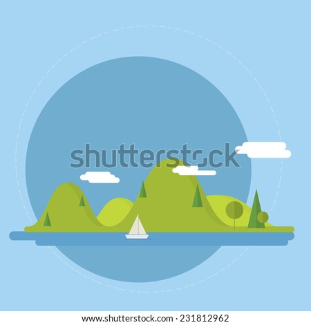 Flat nature landscape illustration - Vector illustration in trendy flat style - stock vector