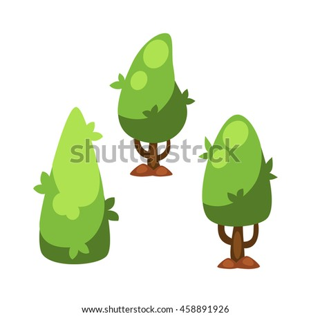 Flat nature plants green ecology flat plants and tree. Summer green tree elements nature. Beautiful garden plants set of flat flowers elements grass, plants, bushes and trees vector illustration - stock vector