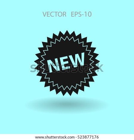 Flat New label icon, vector illustration