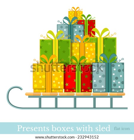 flat new year gift-box on sled isolated on white - stock vector