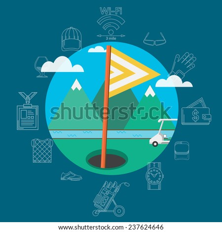 Flat of golf equipment. Golf target with flag in hole and golf car on a background of green mountains, blue sky and river. Circle flat vector illustration sign of golf equipment and accessories - stock vector