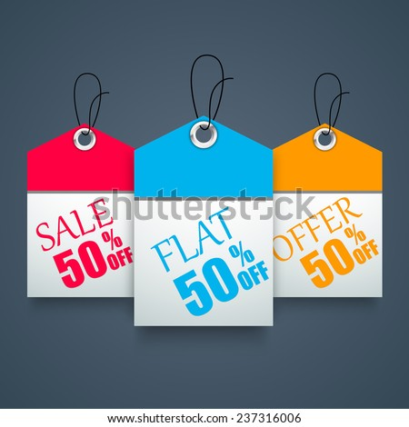 Flat offer discount tags - stock vector
