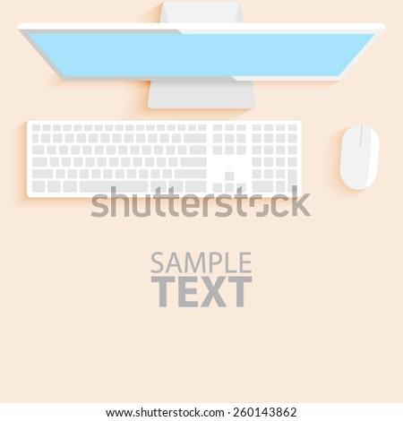 Flat office desk vector. - stock vector