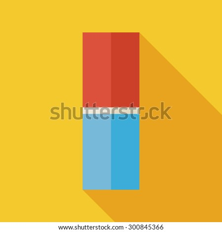 Flat Office Supply Eraser Illustration with long Shadow. Back to School and Education Vector Illustration. Office Supply and Drawing Instrument Tool Object.  - stock vector