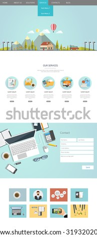 Flat One page website design - stock vector