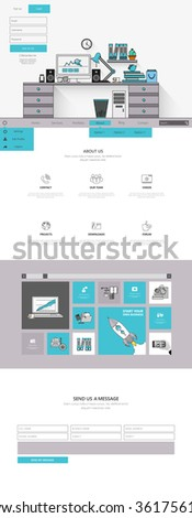 Flat One page website design template. Vector