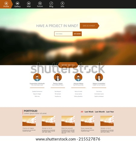 Flat One Page Website Template with Blurred Backgrounds  - stock vector