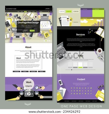 flat one page website template with workplace concept  - stock vector