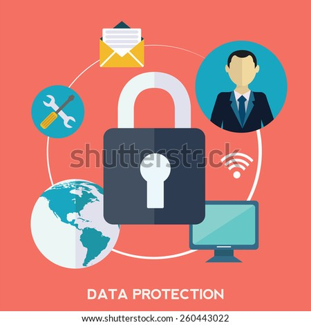 Flat padlock icon. Data protection concept. Social network security. - stock vector
