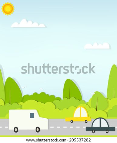 flat paper cars on road - stock vector