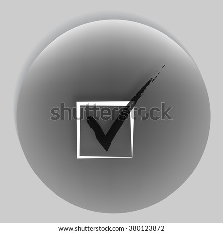 Flat paper cut style icon of checkbox. Vector illustration - stock vector