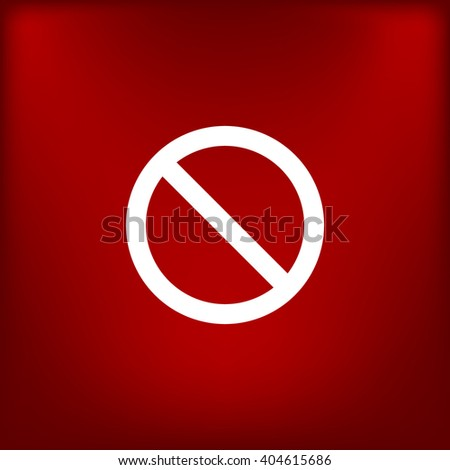 Flat paper cut style icon of forbidden sign. Vector illustration