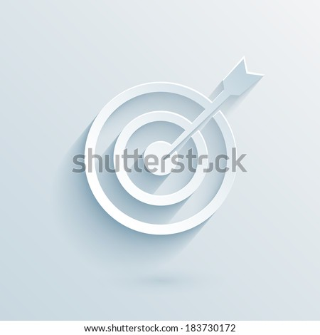 flat paper target with dart vector eps10 illustration for business template - stock vector