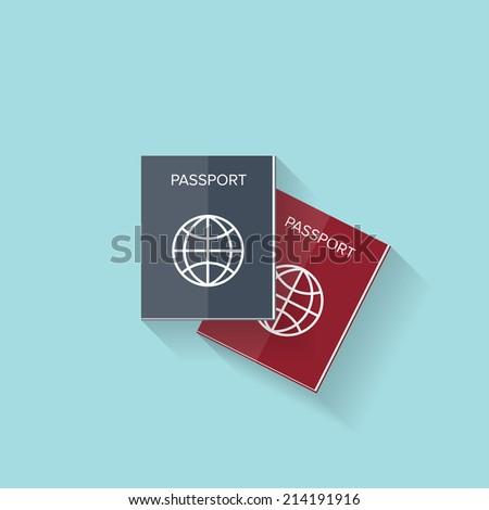 Flat passport web icon - stock vector