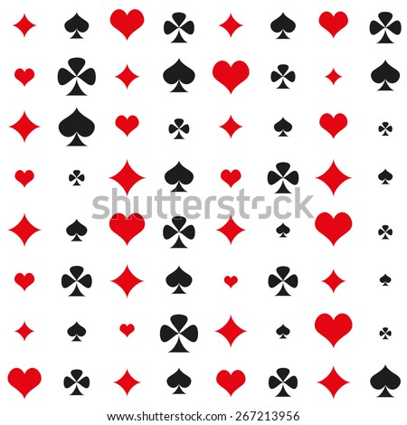 flat pattern suits of playing cards - diamond, hearts, spades and clubs