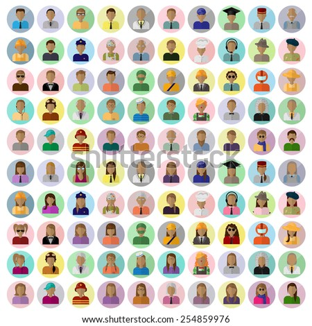 Flat People Icons, Different Occupation: Doctor, Police, Artist, Firefighter, Surgeon, Clown, Judge, Astronaut, Waiter, Barman, Sailor, Hipster - On Background - Vector Illustration, Graphic Design - stock vector