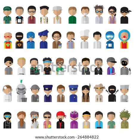 Flat People Icons, Different Occupation: Doctor, Police, Knight, Indian, Athlete, Professor, Astronaut, Waiter, Explorer, Painter Isolated On White Background - Vector Illustration, Graphic Design  - stock vector