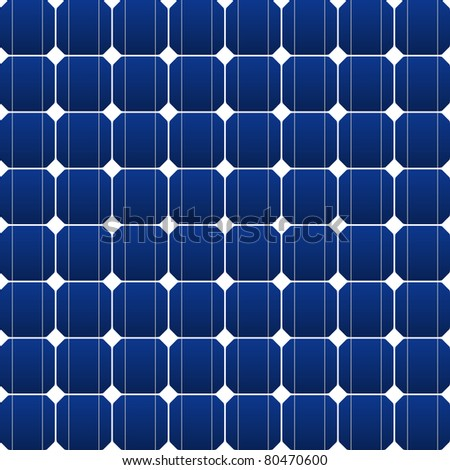 Flat photovoltaic panel in blue vector art - stock vector